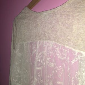 Charlotte Russe - tan + lace sweater